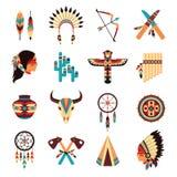 Icone indigene americane etniche messe Fotografia Stock Libera da Diritti