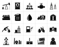 Icone industria petrolifera, di produzione del gas, del trasporto e di stoccaggio neri Fotografie Stock Libere da Diritti