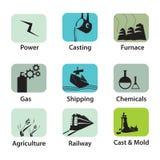 Icone industriali Fotografia Stock