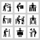 Icone industriali della gente Fotografie Stock Libere da Diritti