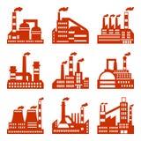 Icone industriali delle costruzioni della fabbrica messe in piano Immagine Stock Libera da Diritti