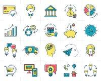 Icone infographic di affari dell'insieme di vettore che commercializzano i simboli illustrazione di stock