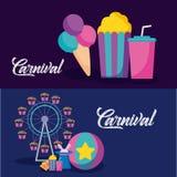 Icone infographic di celebrazione di carnevale illustrazione vettoriale