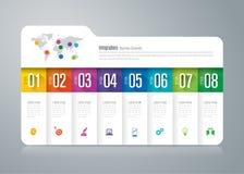Icone infographic di progettazione e di affari della cartella con 8 opzioni illustrazione vettoriale