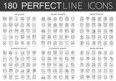 180 icone infographic istruzione, addestramento online, processo di mente, progetto di affari, economia di simbolo di mini concet illustrazione vettoriale