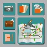 Icone Infographics di viaggio Fotografie Stock Libere da Diritti