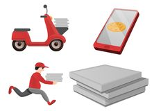 Icone insieme, stile di consegna della pizza del fumetto royalty illustrazione gratis
