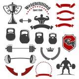 Icone isolate del club di sport di sollevamento pesi per l'emblema Fotografia Stock