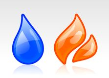 Icone del fuoco e dell'acqua Immagine Stock