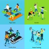 Icone isometriche aerobiche di forma fisica messe Fotografie Stock Libere da Diritti