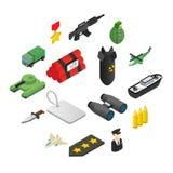 Icone isometriche 3d dell'arma messe illustrazione di stock