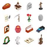 Icone isometriche 3d di sepoltura e di funerale illustrazione vettoriale