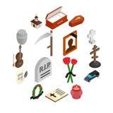 Icone isometriche 3d di sepoltura e di funerale illustrazione di stock
