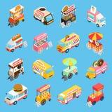 Icone isometriche dei carretti dell'alimento della via messe Immagini Stock