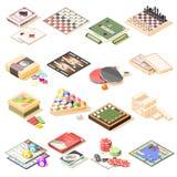 Icone isometriche dei giochi da tavolo messe Fotografia Stock