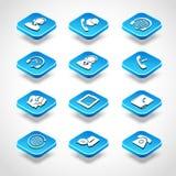 Icone isometriche della call center Fotografie Stock Libere da Diritti
