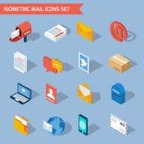 Icone isometriche della posta illustrazione di stock