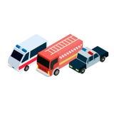 Icone isometriche delle automobili dei soccorritori Immagine Stock