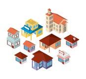 Icone isometriche delle mini costruzioni dell'insieme Fotografie Stock Libere da Diritti