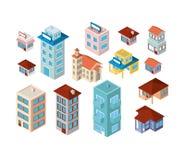 Icone isometriche delle mini costruzioni dell'insieme Fotografia Stock Libera da Diritti