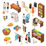 Icone isometriche dello studio dell'atelier messe illustrazione di stock