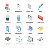 Icone isometriche di aiuto e di cura imballare royalty illustrazione gratis