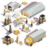 icone isometriche di consegna e logistiche Immagini Stock