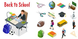 Icone isometriche di istruzione messe Di nuovo alla scuola, al posto di lavoro, ai bambini della scuola e ad altri elementi Illus illustrazione di stock