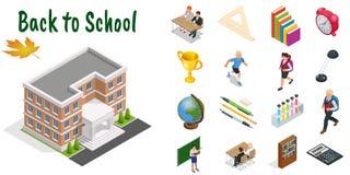 Icone isometriche di istruzione messe Di nuovo alla scuola, al posto di lavoro, ai bambini della scuola e ad altri elementi Illus illustrazione vettoriale