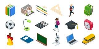 Icone isometriche di istruzione messe Di nuovo alla scuola, al posto di lavoro, ai bambini della scuola e ad altri elementi Illus royalty illustrazione gratis