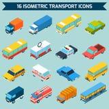 Icone isometriche di trasporto messe Immagini Stock Libere da Diritti
