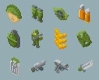 Icone isometriche di vettore dei soldati e delle armi del pixel illustrazione di stock