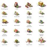 Icone isometriche di viaggio di vettore illustrazione di stock