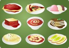 Icone italiane di cucina illustrazione vettoriale