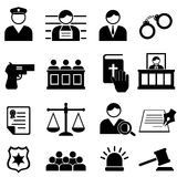 Icone legali, della giustizia e della corte Immagine Stock