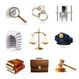 Icone legali di legge messe Immagini Stock Libere da Diritti