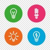 Icone leggere della lampada Simboli economizzatori d'energia Fotografie Stock Libere da Diritti