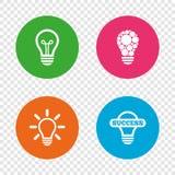 Icone leggere della lampada Simboli economizzatori d'energia Immagine Stock