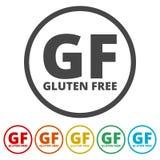 Icone libere del segno del glutine messe illustrazione di stock