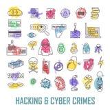 Icone lineari dei crimini informatici e di incisione Fotografie Stock Libere da Diritti