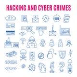 Icone lineari dei crimini informatici e di incisione Fotografie Stock