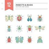 Icone lineari dell'insetto Fotografie Stock