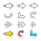 Icone lineari della freccia Fotografia Stock