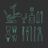Icone lineari dentarie Fotografia Stock Libera da Diritti