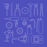 Icone lineari di Metaworking Fotografia Stock Libera da Diritti