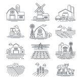 Icone lineari di vettore dei campi di azienda agricola ed azienda su fondo bianco Concetto di vita di agricoltura e di azienda ag illustrazione di stock