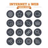 Icone lineari di web e di Internet messe Profilo sottile Immagini Stock