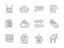 Icone lineari per il negozio della commissione Fotografia Stock
