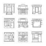 Icone lineari per le stanze frontali di negozio Fotografie Stock Libere da Diritti