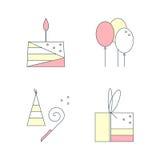 Icone lineari sveglie di compleanno messe Agglutini, contenitore di regalo, gli aerostati, cappuccio di compleanno Illustrazione  Fotografia Stock